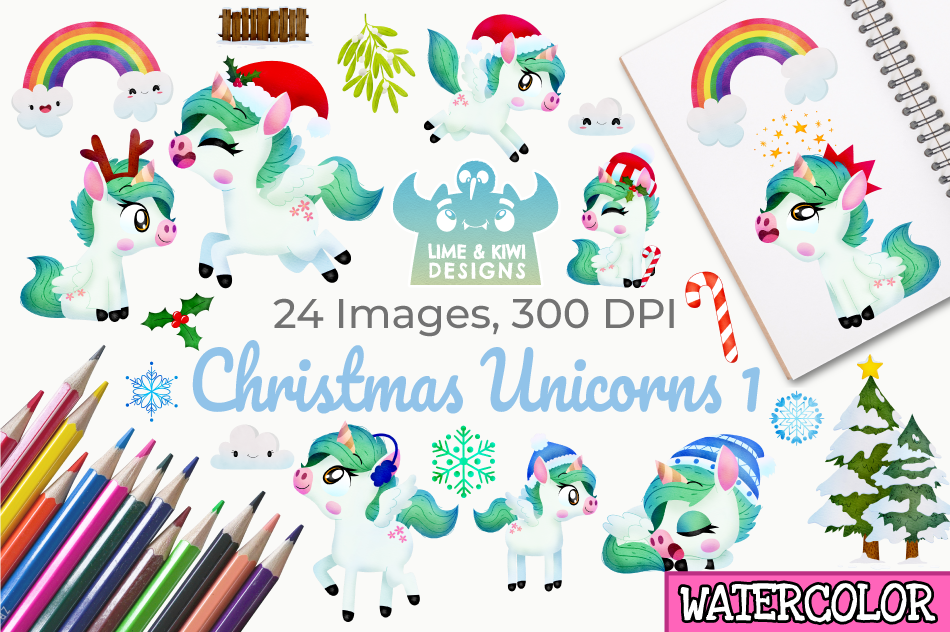 Christmas Unicorns 1 Watercolor Clipart, Instant Download example image 1