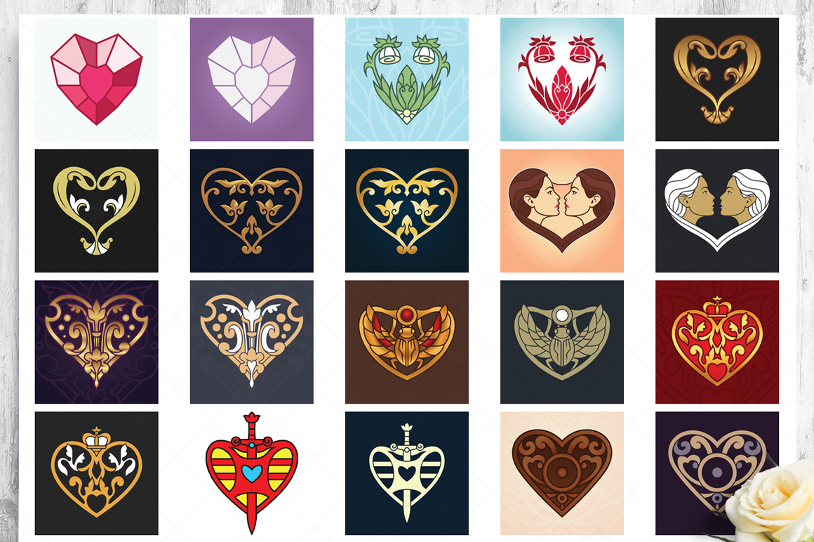 100 Heart Vector Ornaments and Seamless Patterns example image 19