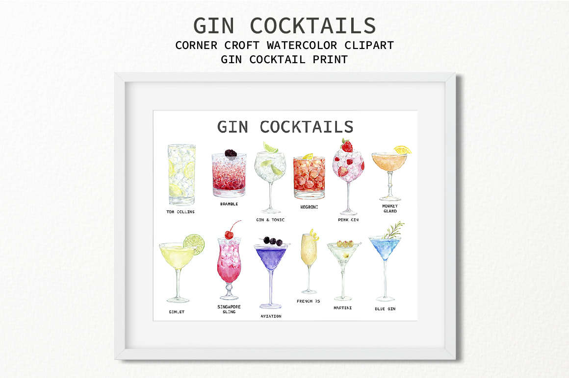 Watercolor Gin Cocktail Illustration and Prints example image 5