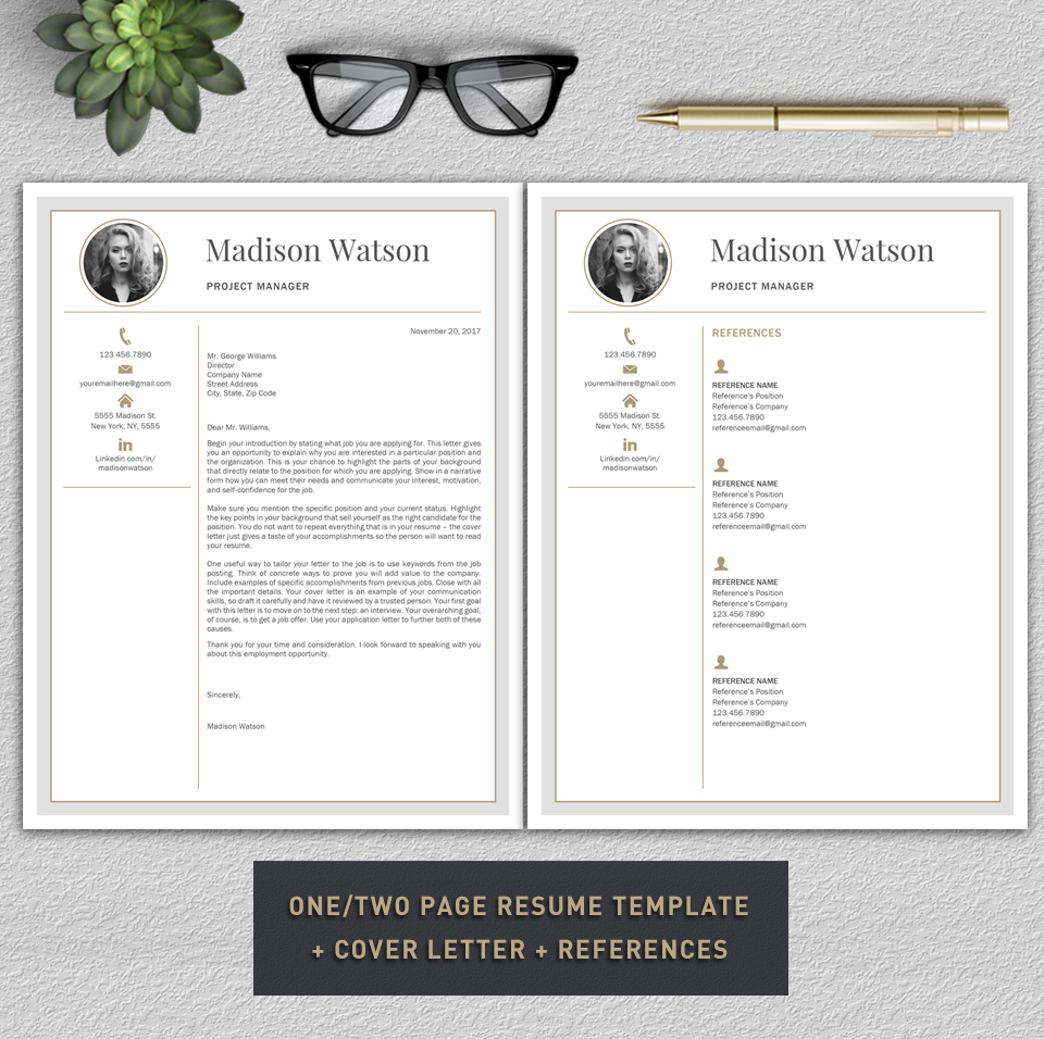Professional Resume Template / CV Template / Resume for Word with Cover Letter example image 7