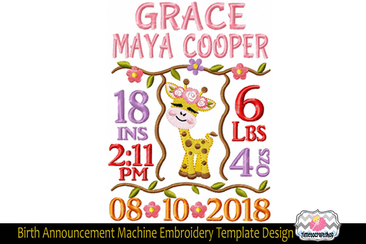 3 sizes Baby Born Announcement Embroidery Template example image 3