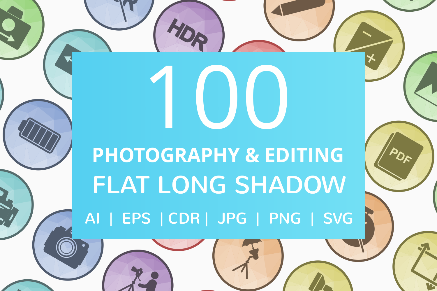 100 Photography & Picture Filled Low Poly Icons example image 1