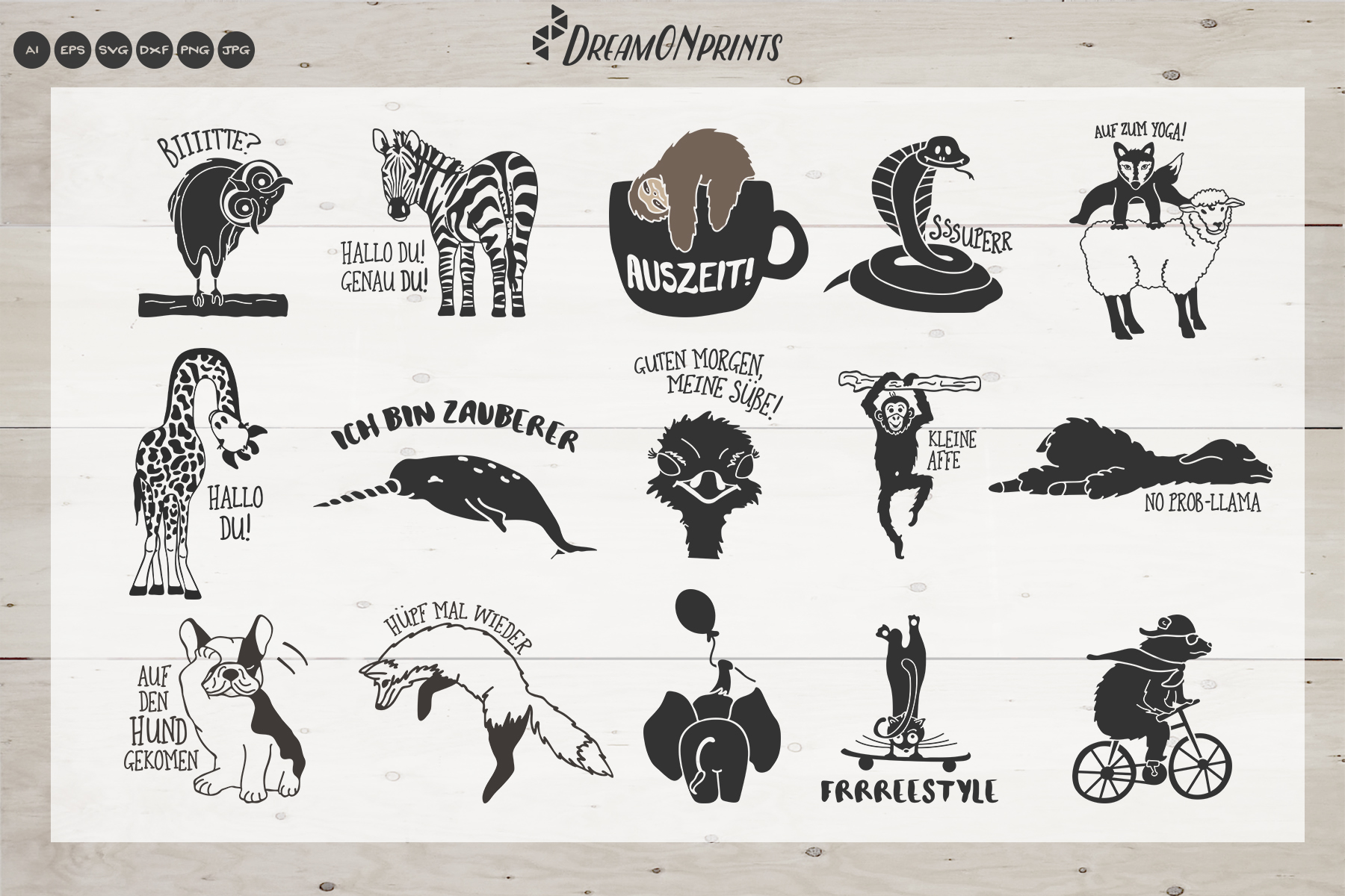 The Quirky Animals - GERMAN SVG Cut Files | Funny SVG Bundle example image 2