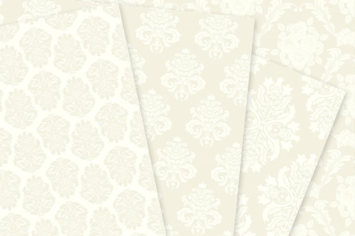 28 Ivory Damask Patterns - Wedding Seamless Digital Papers Bundle example image 4