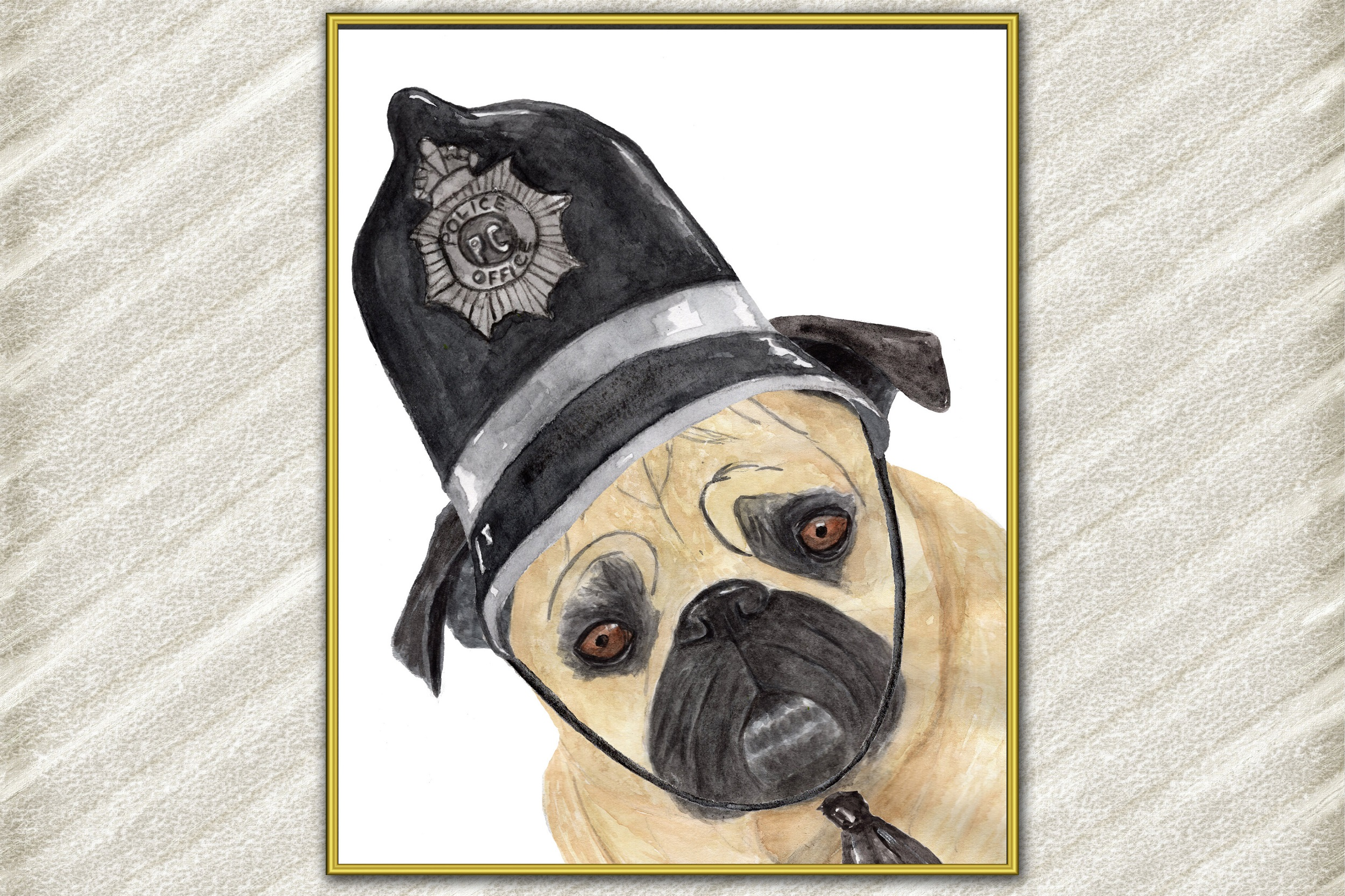 Pug art print , Cute pets prints,Mops poster Funny dog print example image 1