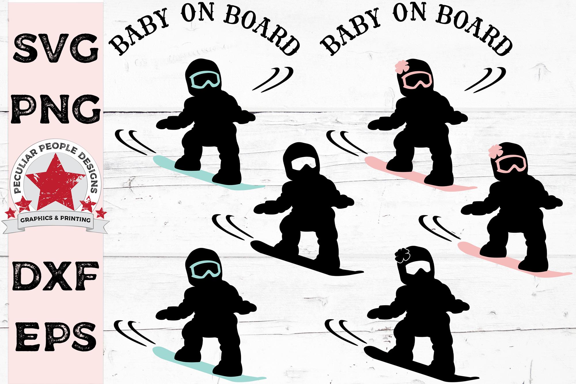 Big SVG Bundle Baby On Board Surfer Skateboarder Snowboarder example image 4
