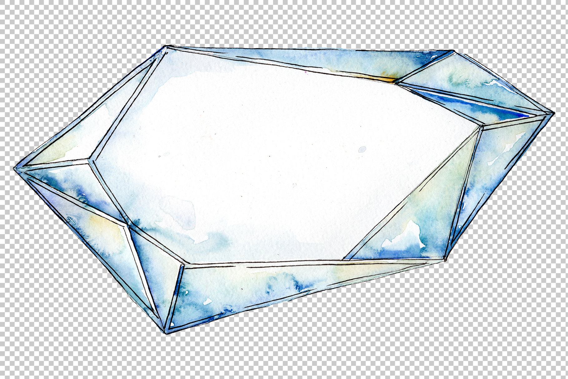 Crystals fine red and blue Watercolor png example image 4