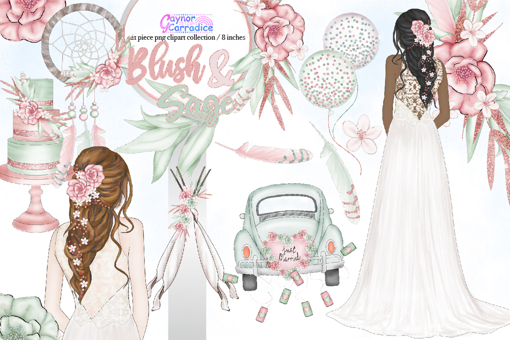 Blush & Sage Wedding clipart collection example image 1