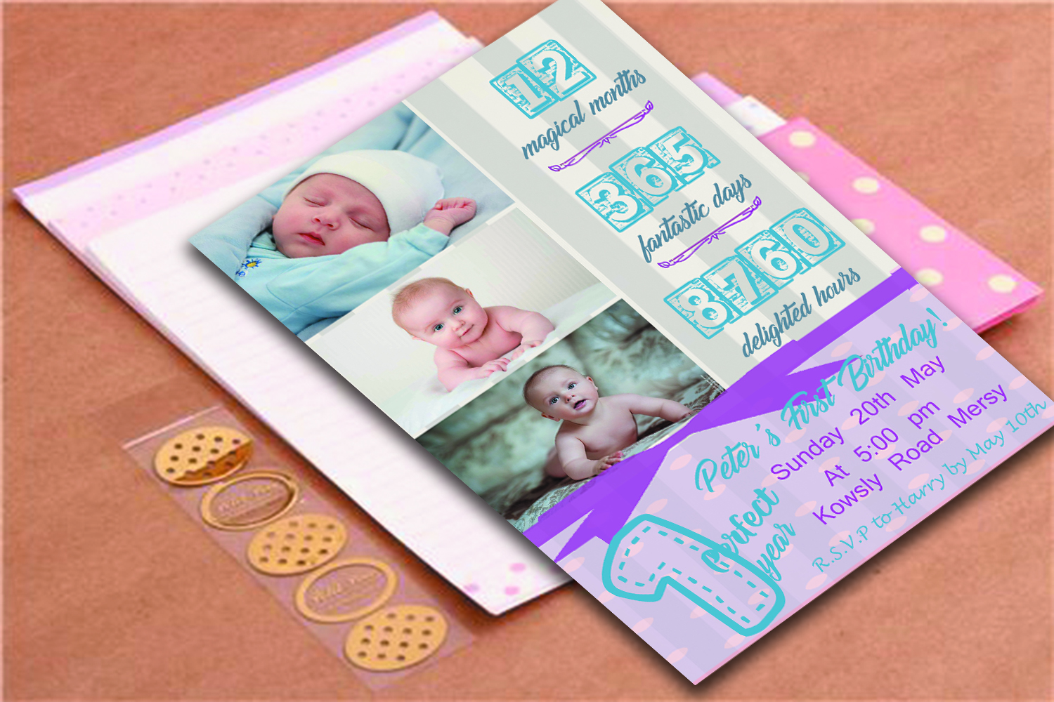 Birthday invitation card in 2 colours example image 2