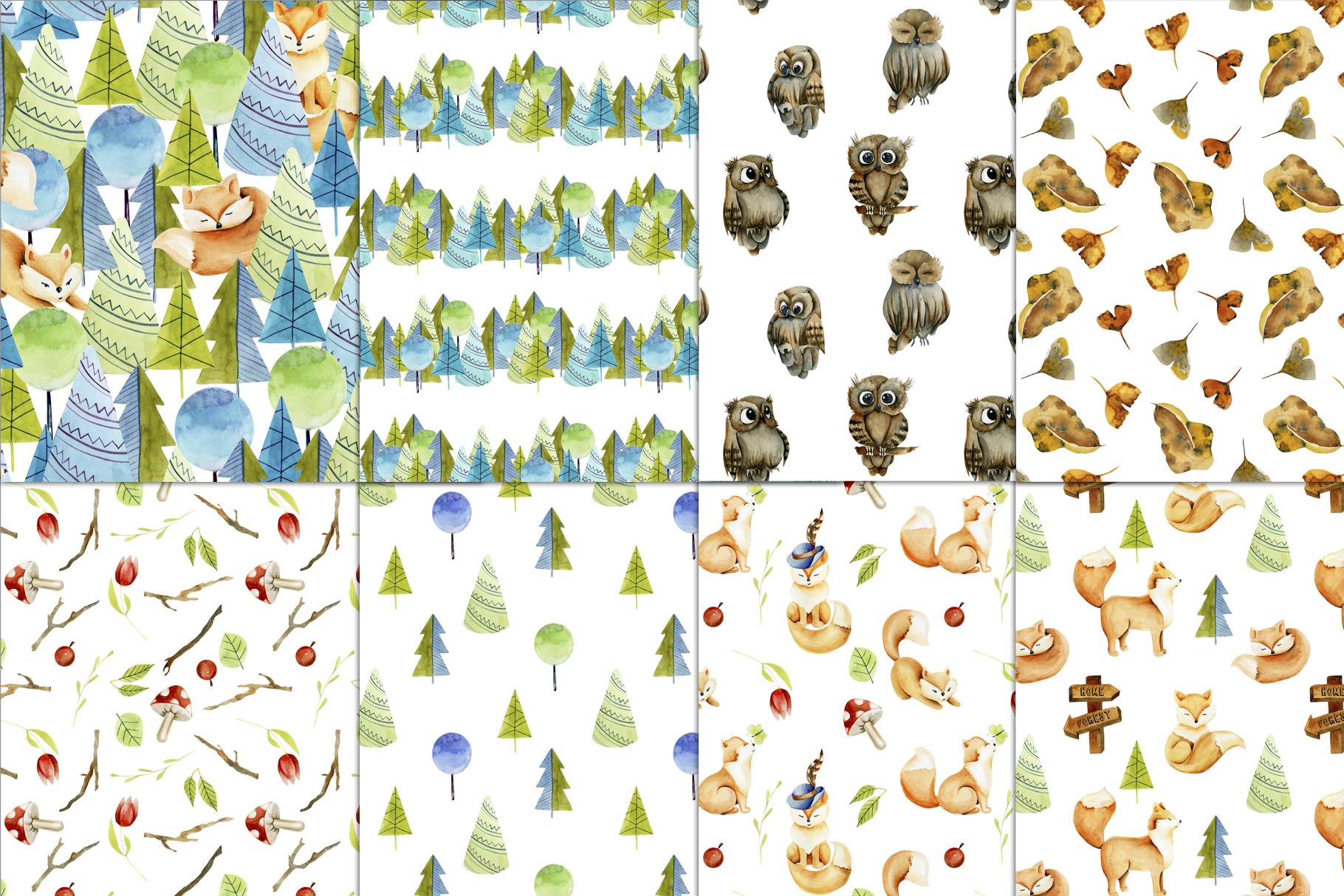Foxes & Owls. Watercolor clipart. example image 6