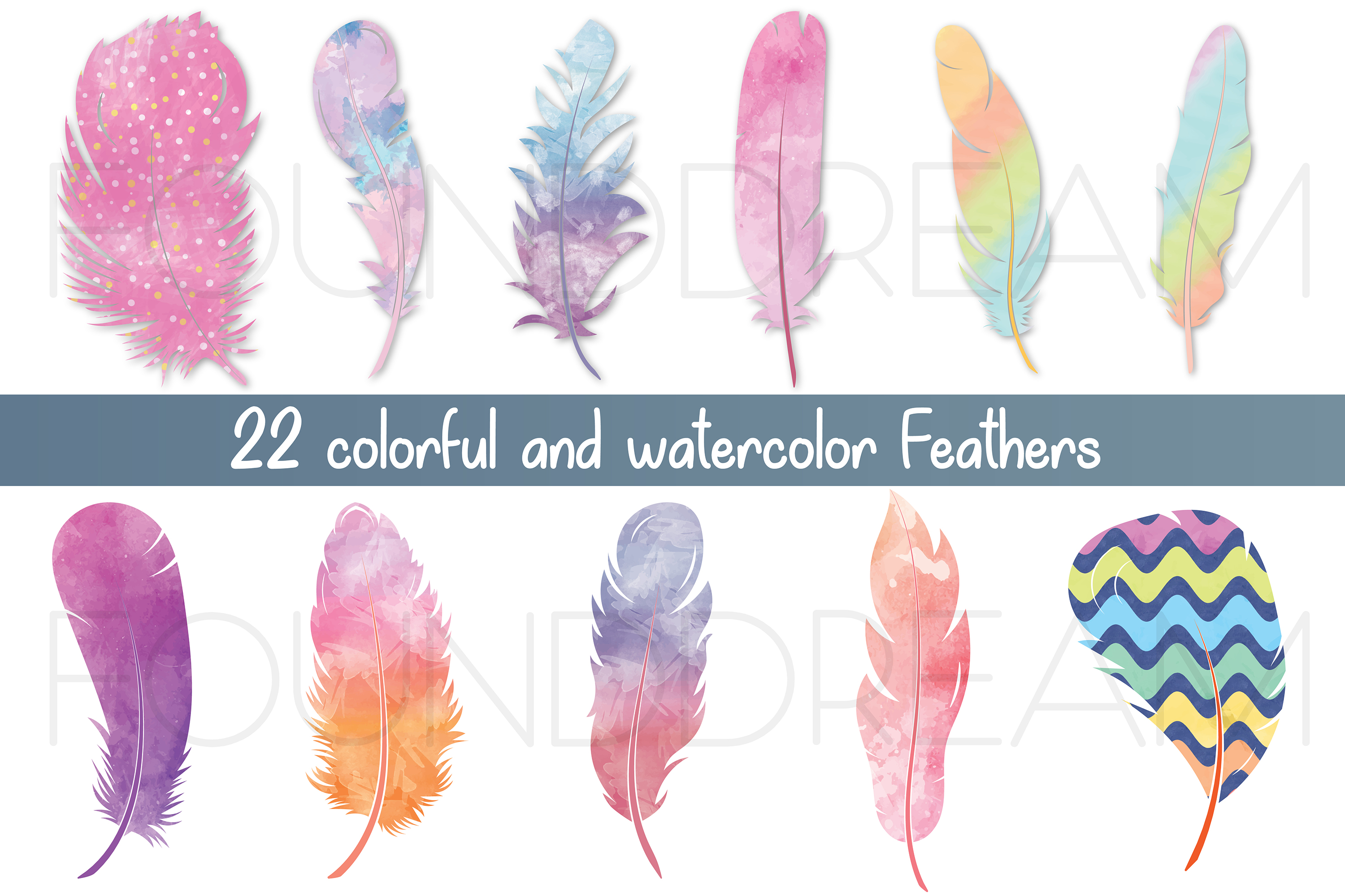 Watercolor Feathers | svg files example image 1