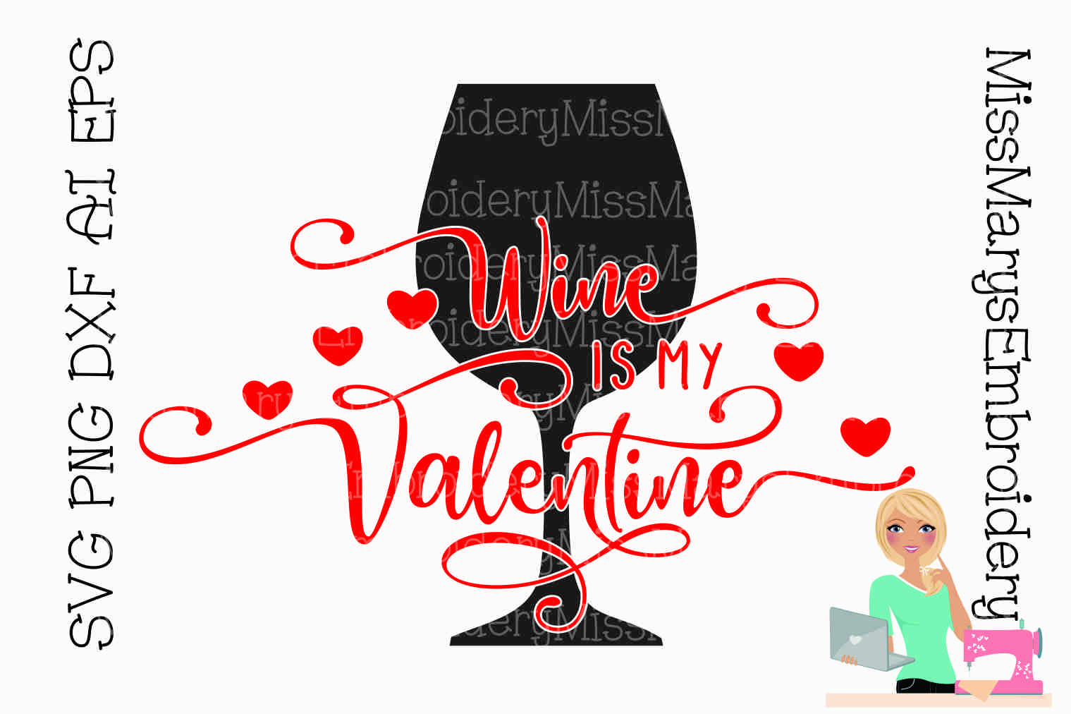 Wine is My Valentine SVG Cutting File PNG DXF AI EPS example image 1