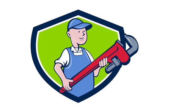 Mechanic Cradling Pipe Wrench Crest Cartoon example image 1