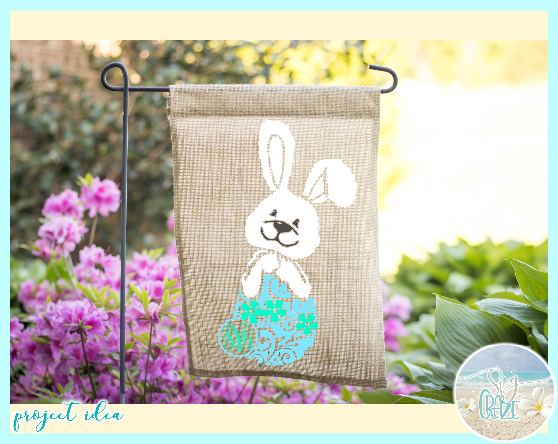 Easter Bunny Monogram SVG DXF EPS PNG PDF example image 3