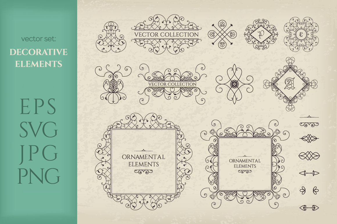 Vector Set of Page Decorations SVG EPS PNG JPG example image 1