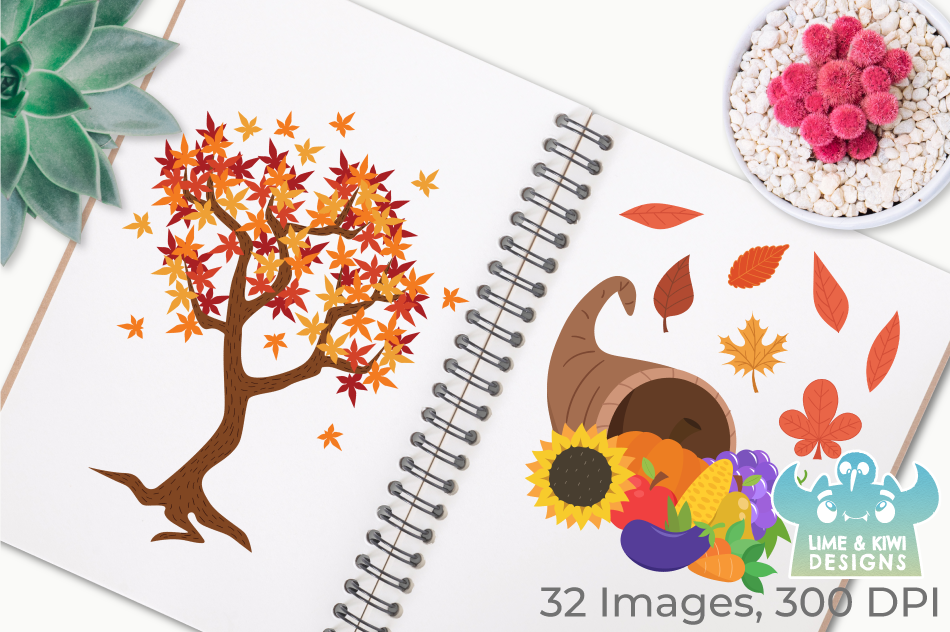 Thanksgiving Day Clipart, Instant Download Vector Art example image 3