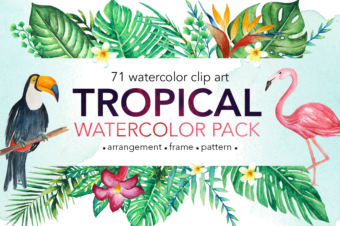TROPICAL Watercolor clip art pack example image 1
