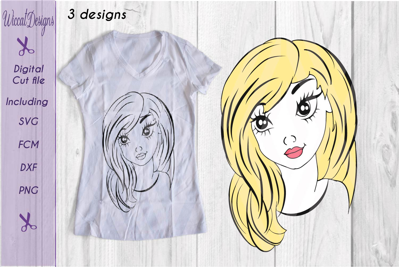 Girl svg, Girl face svg, Line art girl svg, teen svg, example image 2