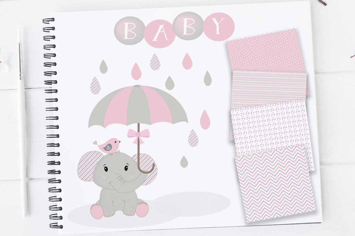 Elephant nursery. Baby girl clipart clip