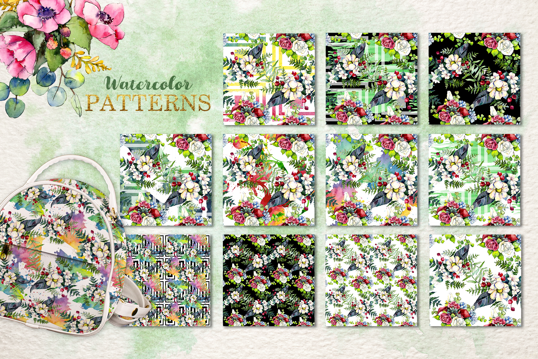 Gorgeous Flower Bouquets Watercolor png example image 7