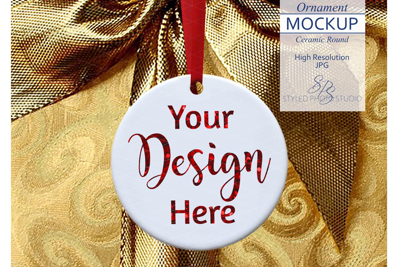 Round Ceramic Christmas Ornament Mockup Gold Ribbon example image 1