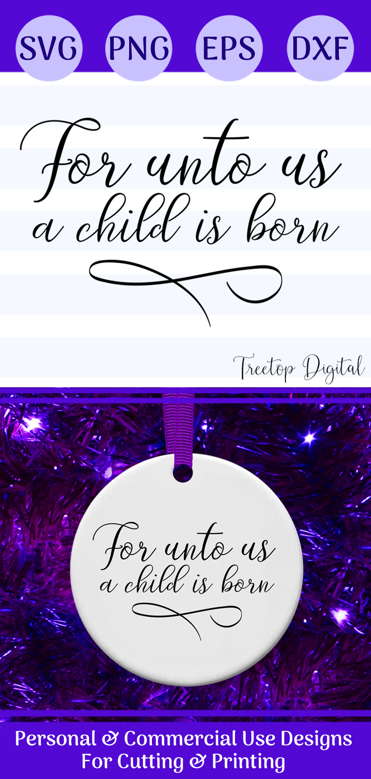 For Unto Us a Child is Born, A Christmas Scripture SVG example image 4