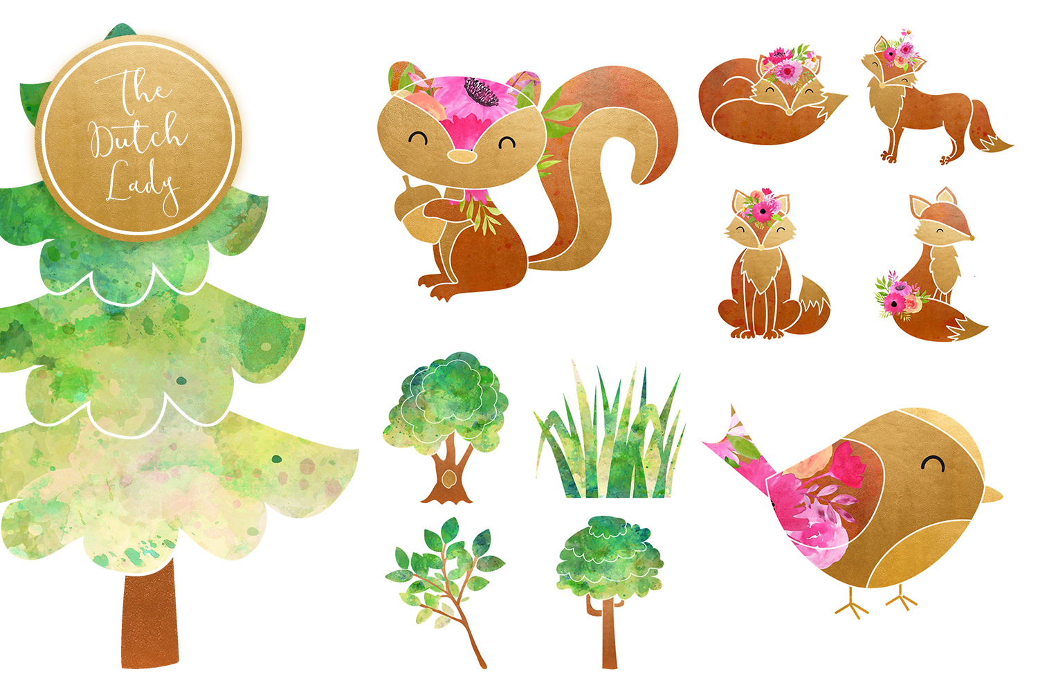 Fox & Forest Clipart Set example image 6
