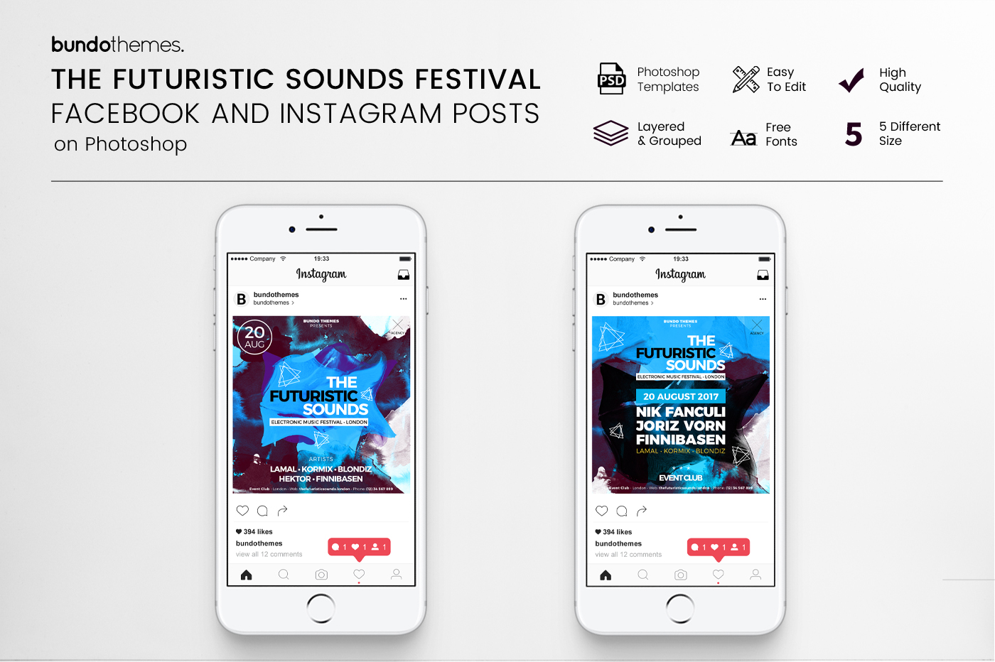 The Futuristic Sounds Festival Facebook and Instagram Templates example image 1