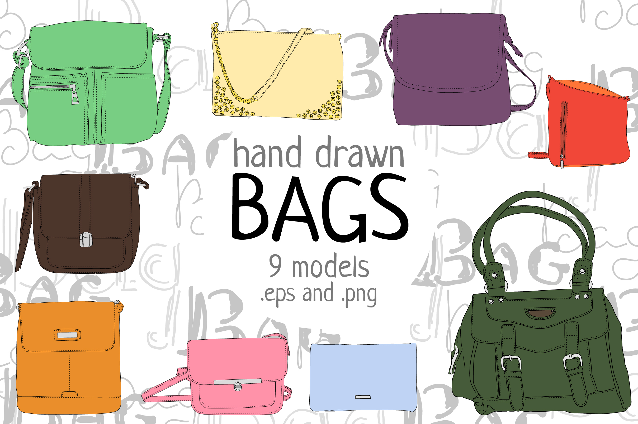 Hand drawn bags example image 2