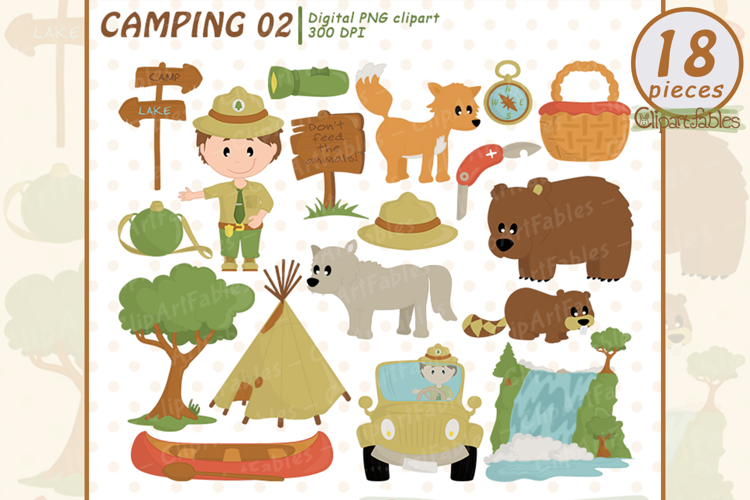 Cute RANGER clipart, Wild life, Outdoor clipart, Camping art example image 1