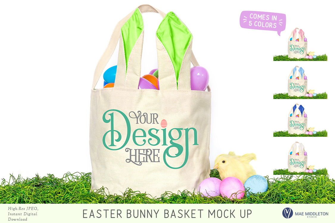 Easter Basket with bunny ears Mock up example image 1