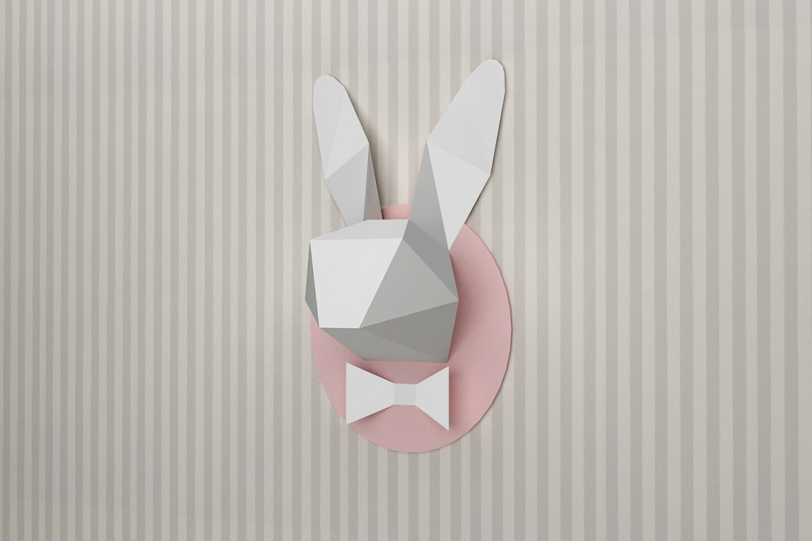 DIY Rabbit head trophy - 3d papercraft example image 3