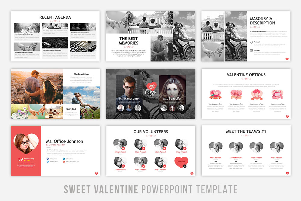 Sweet Valentine Powerpoint Template example image 3