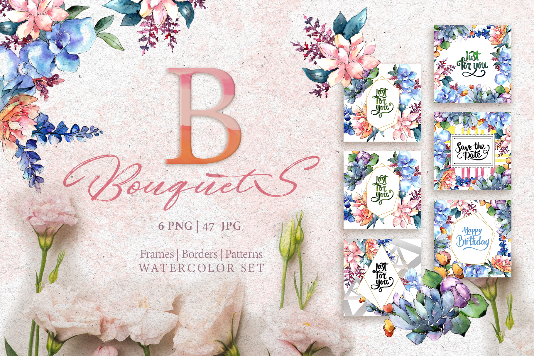 Bouquets flowers set PNG watercolor example image 1