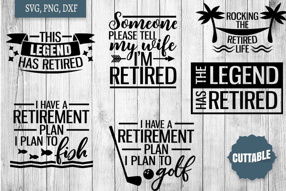 Retirement SVG bundle, retired quote cut files, retired svgs example image 2