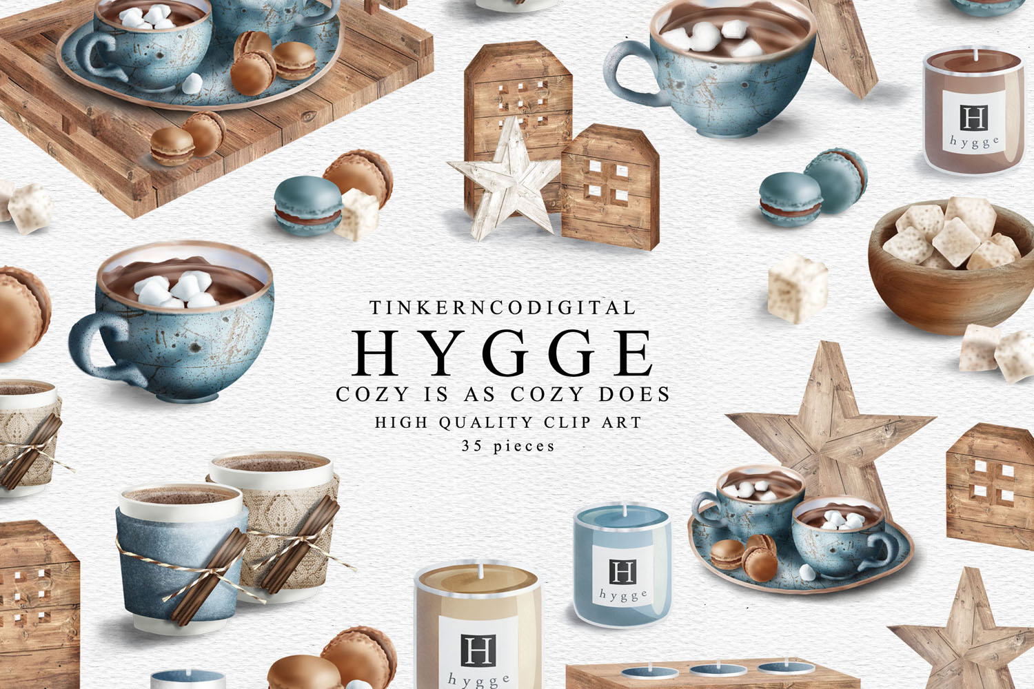 Hygge Clipart and Seamless Pattern Paper Sublimation designs example image 2