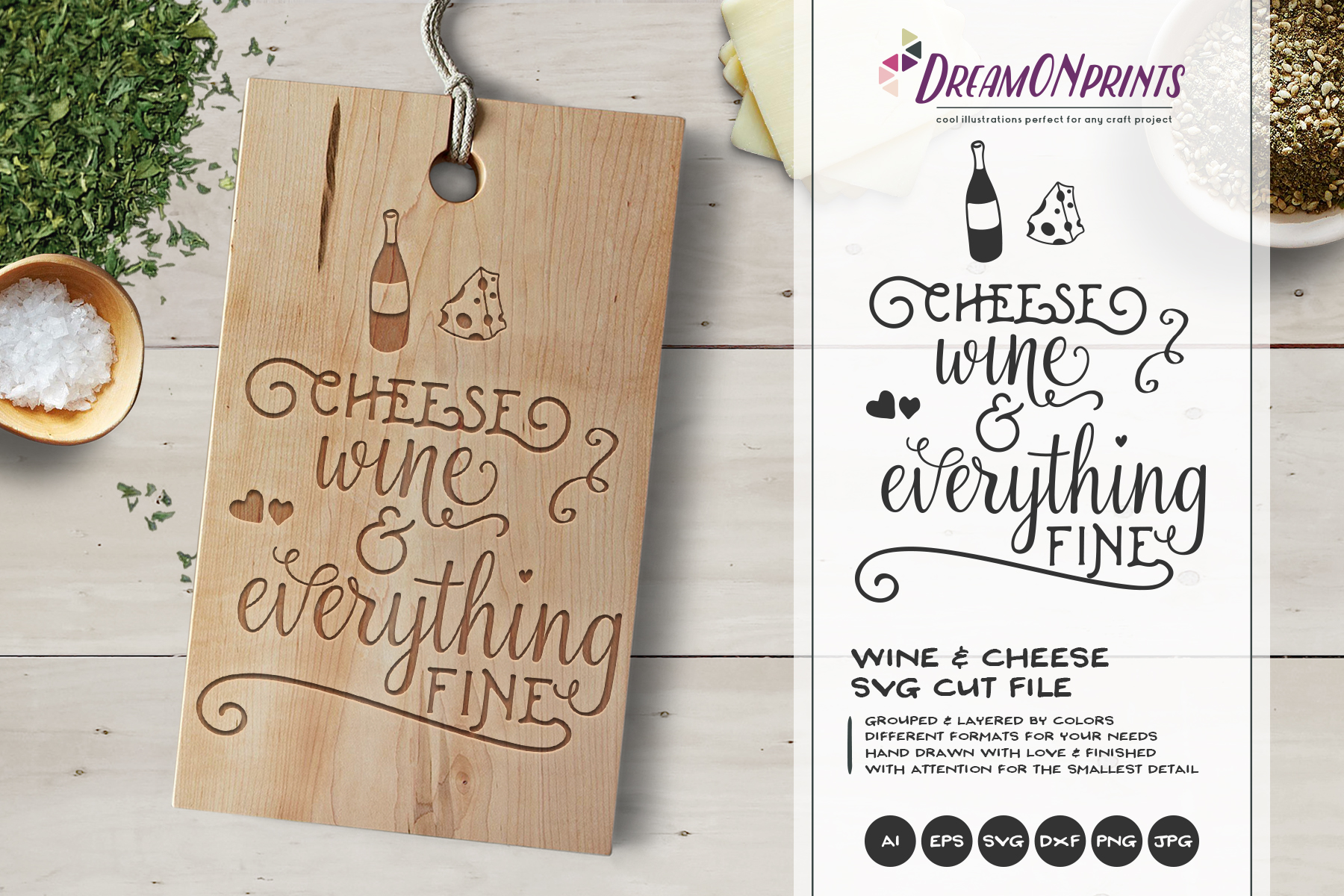 Wine and Cheese SVG BUNDLE - Bundle SVG Cut Files example image 7
