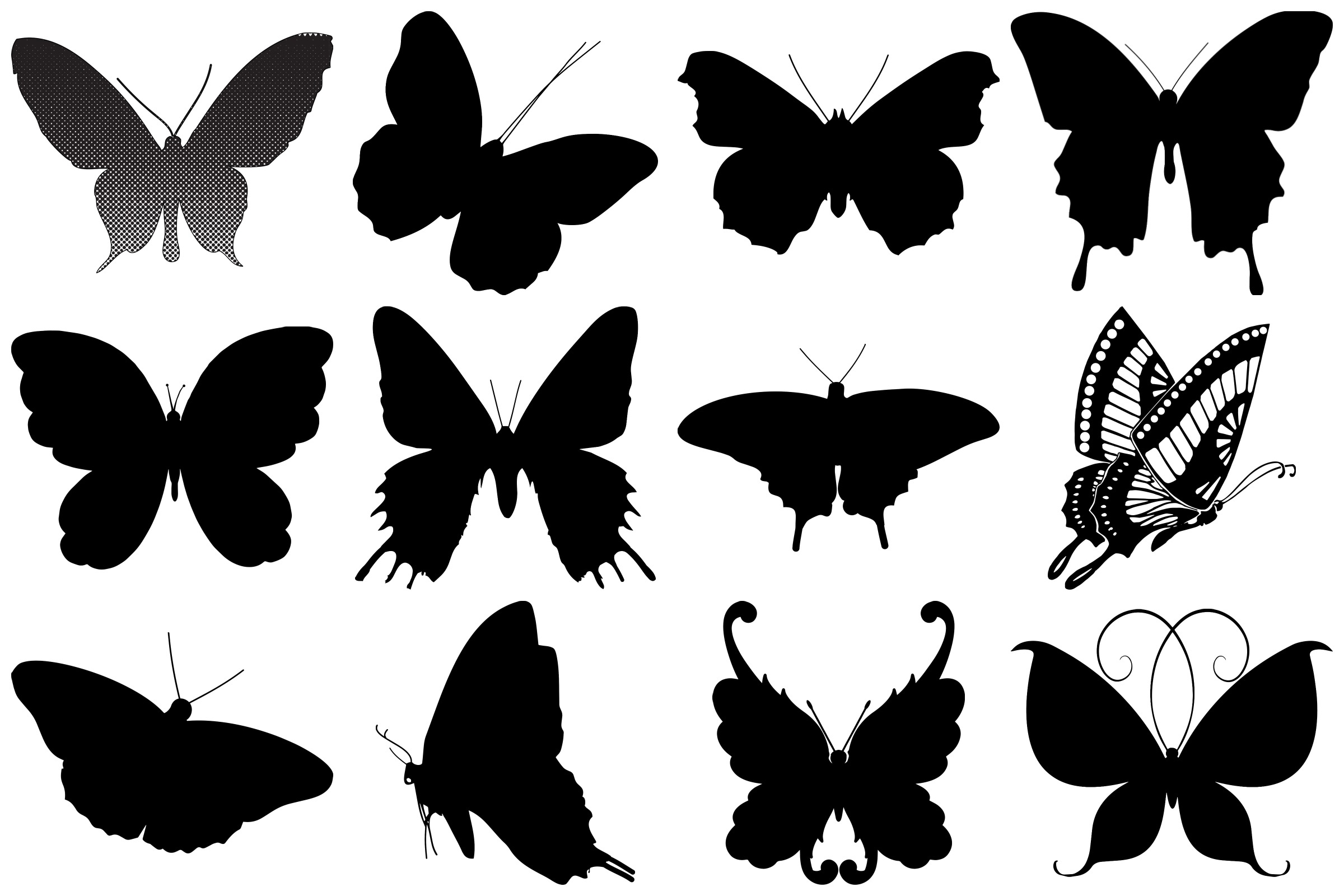Butterfly Silhouettes AI EPS PNG example image 2