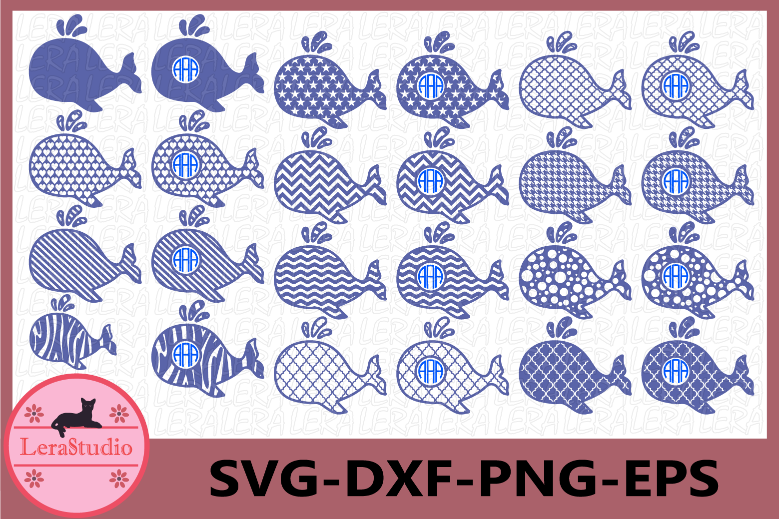 Whale svg, Whale Monogram svg, Whale SVG Cut Files example image 1