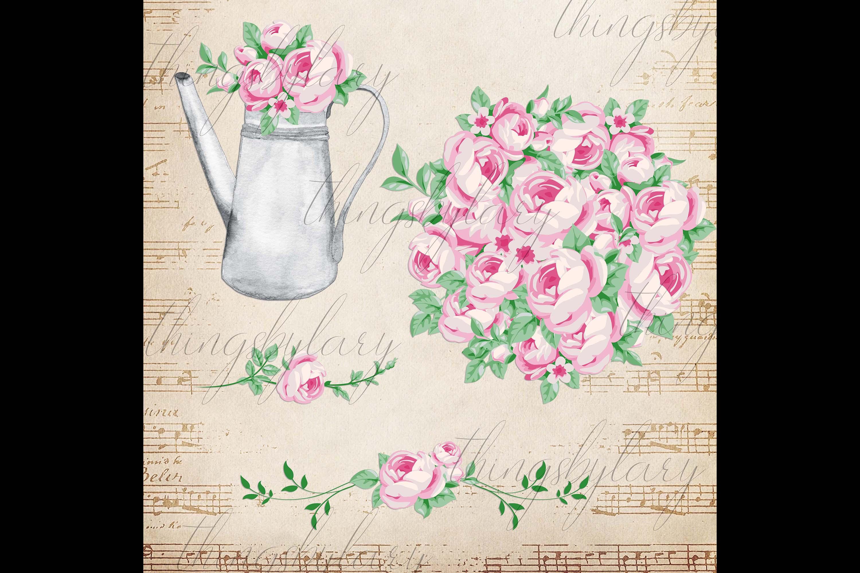 82 Romantic Pink Peony Clip Art Peony Border Bouquet Garden example image 3
