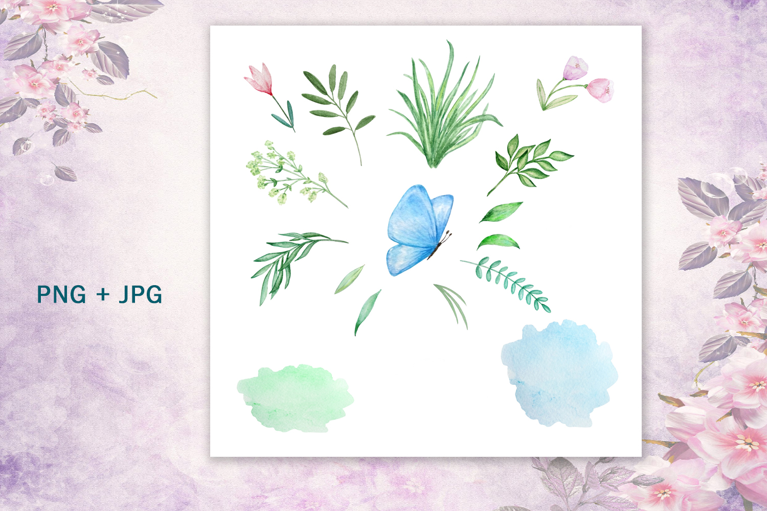 Watercolor Spring Rabbit Clipart Set example image 8