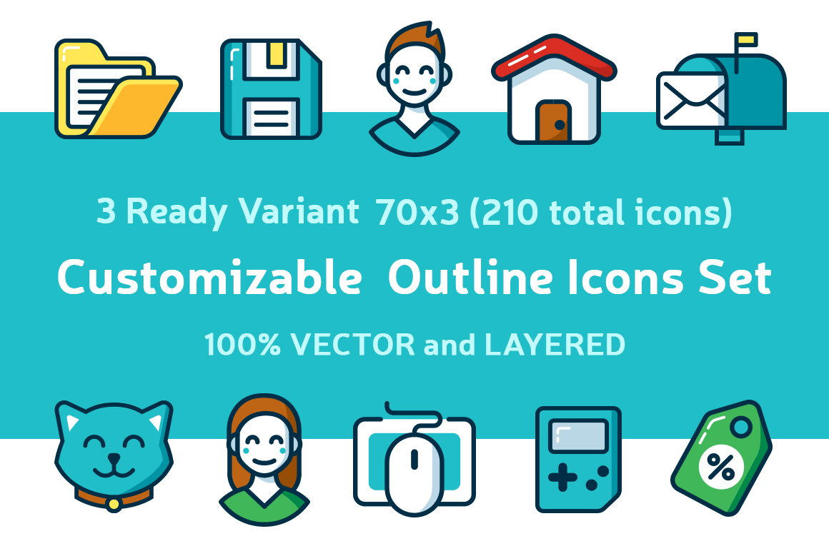 Customizable Outline Icons Set example image 1