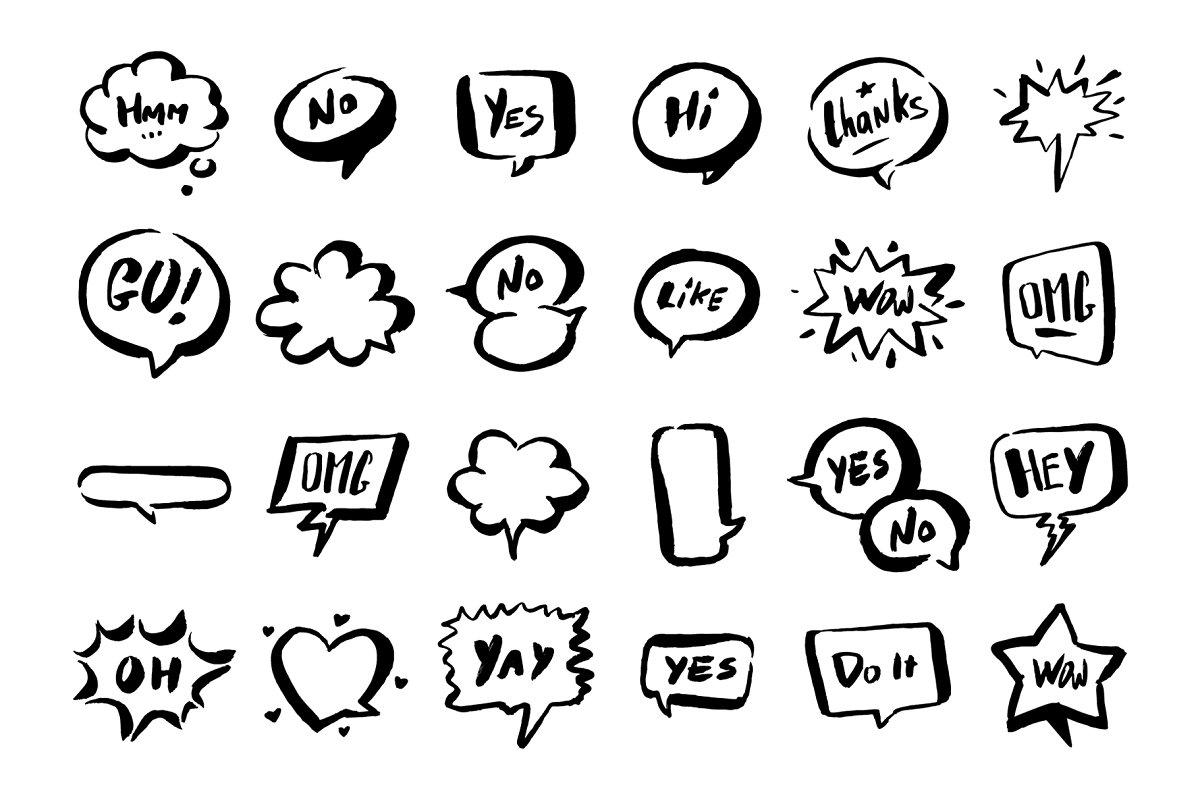 Set of speech bubbles. example image 1