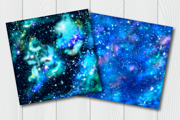 Blue galaxy digital paper. Starry sky background example image 4