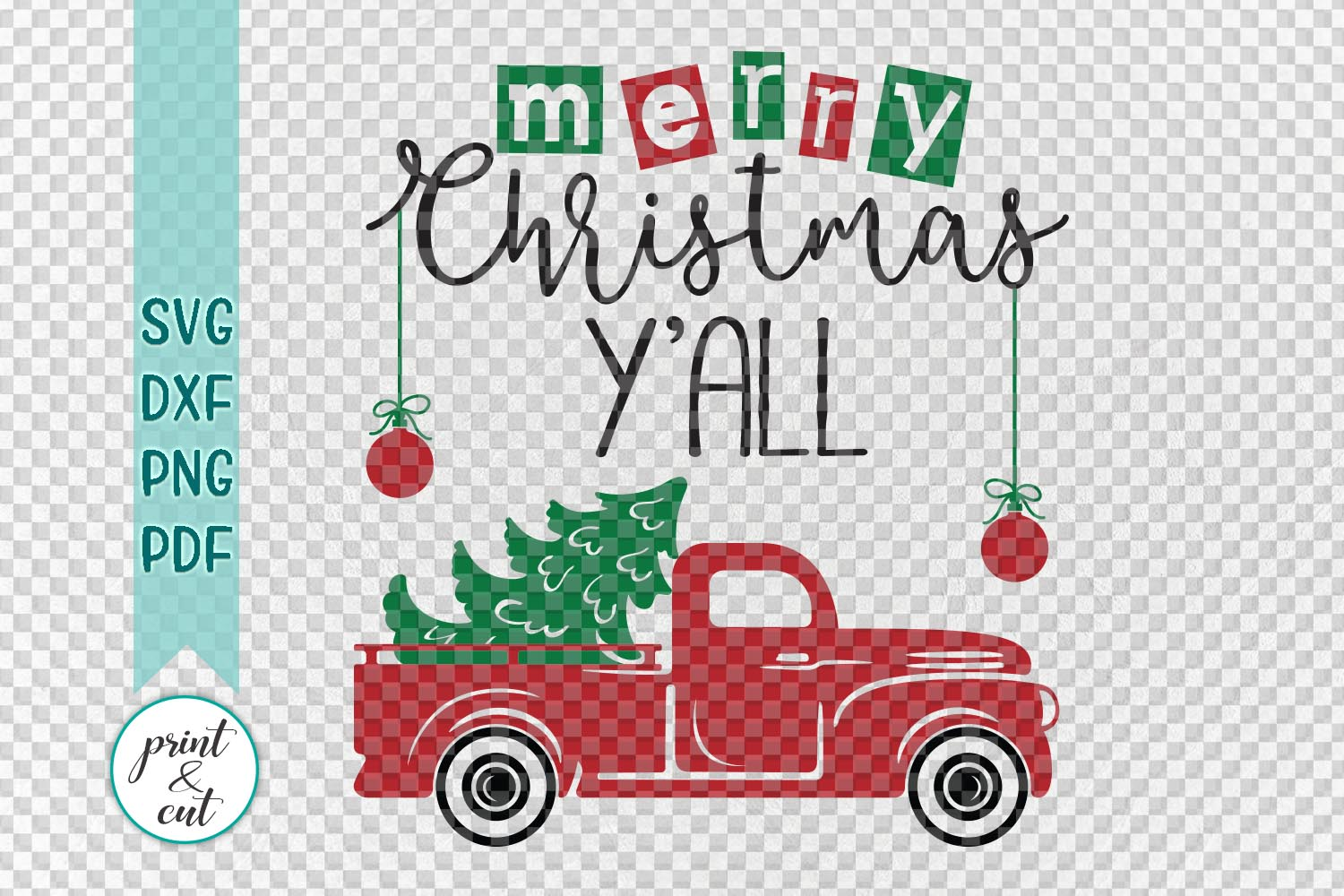 Merry Christmas Y'all Truck svg dxf files for vinyl HTV cut example image 2