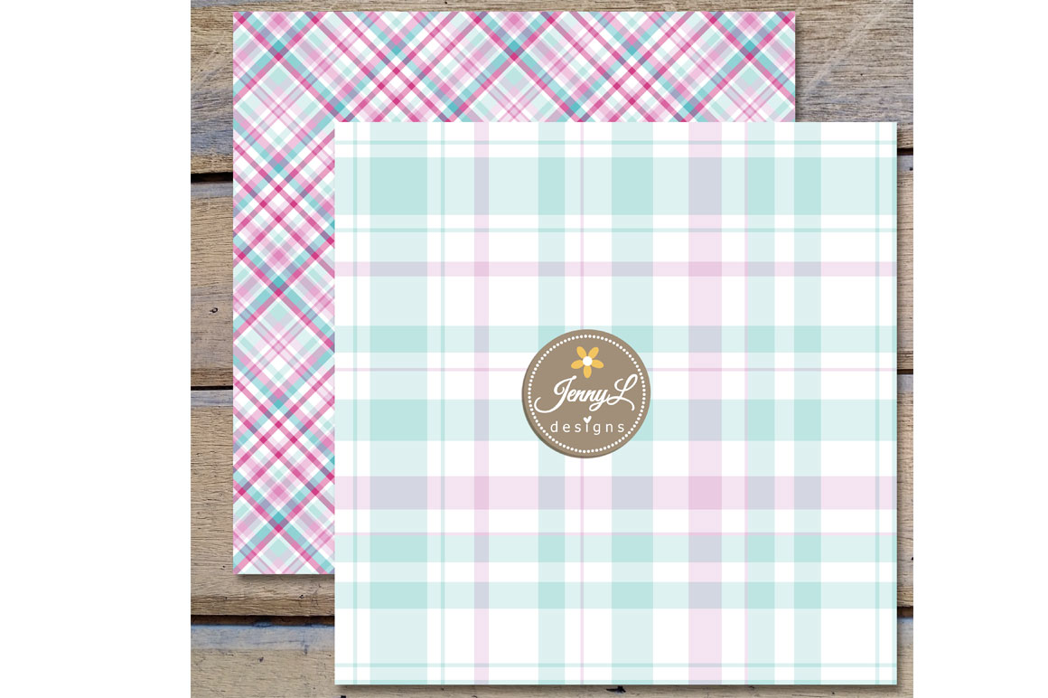 Dainty Pastel Plaid Digital Papers example image 3