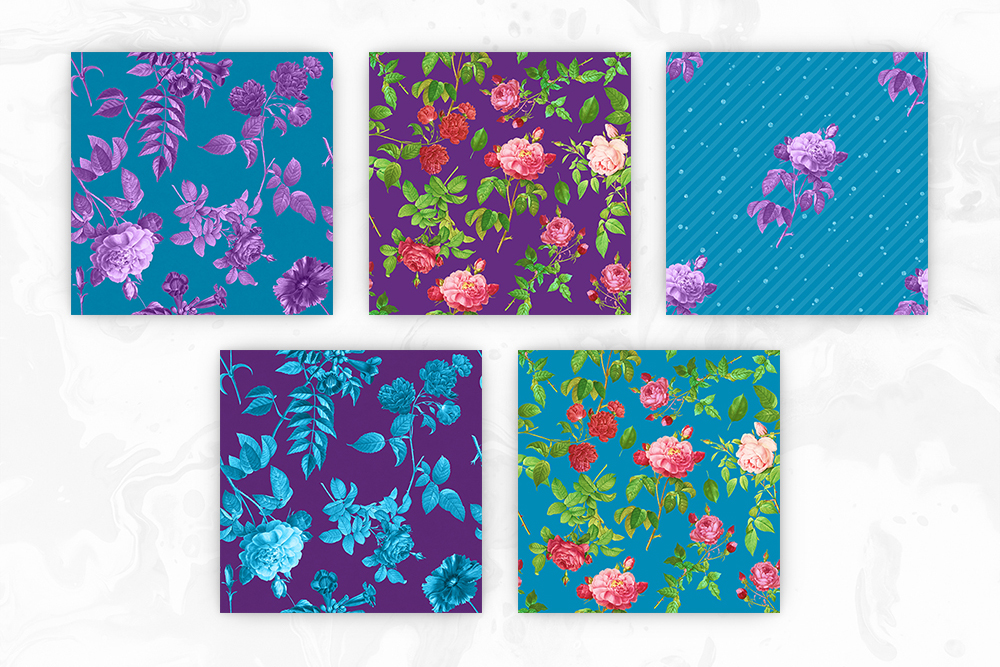 Blue & Purple Tileable Backgrounds With Flower Illustrations example image 2
