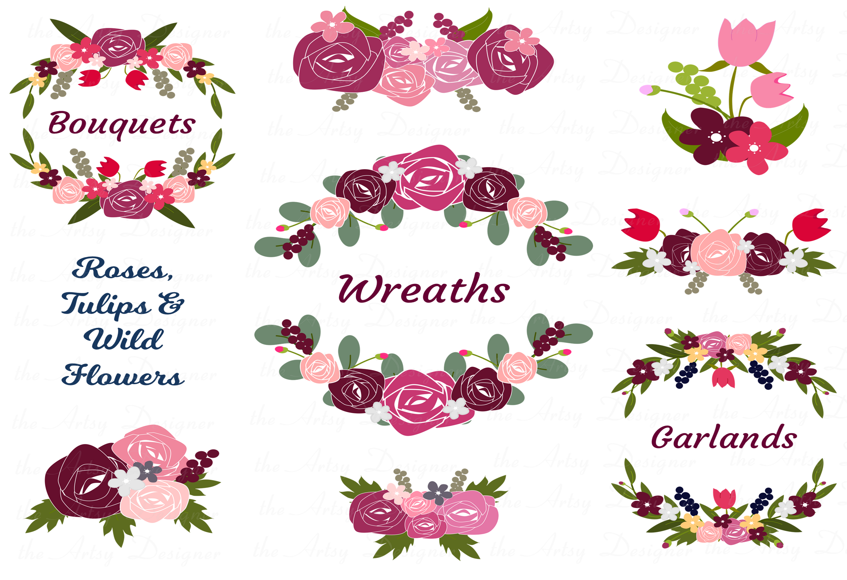 Burgundy Maroon Pink Floral Roses Sublimation Clipart Bundle example image 2