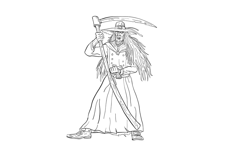 Ankou Graveyard Watcher With Scythe Drawing Black and White example image 1
