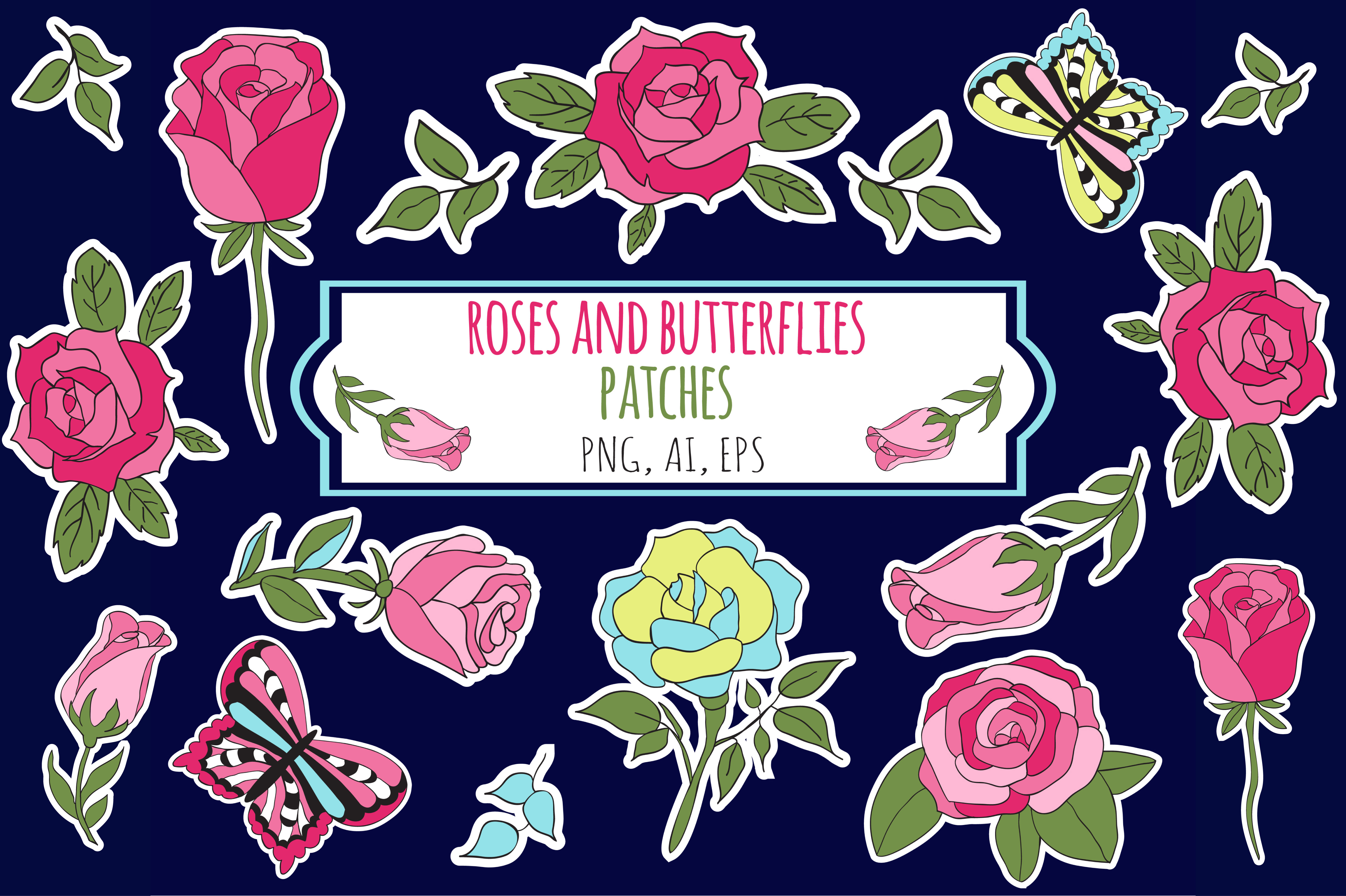 Roses and Butterflies Stickers example image 1